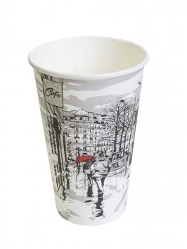 Стакан картонный одинарный под горячие напитки Паперскоп Big City, 400 мл, 50 шт./упак.